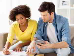 couple preparing family budget