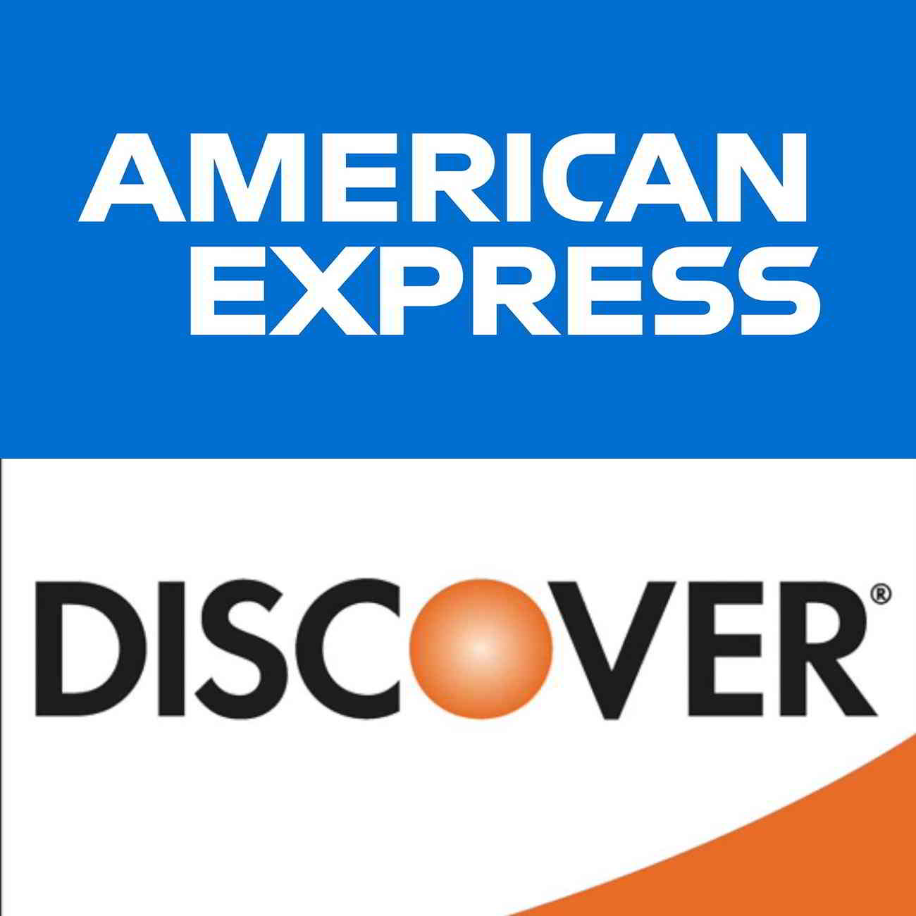 American Express and Discover logos